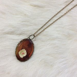 Amber Tone Vintage Oval Frame Rose Necklace